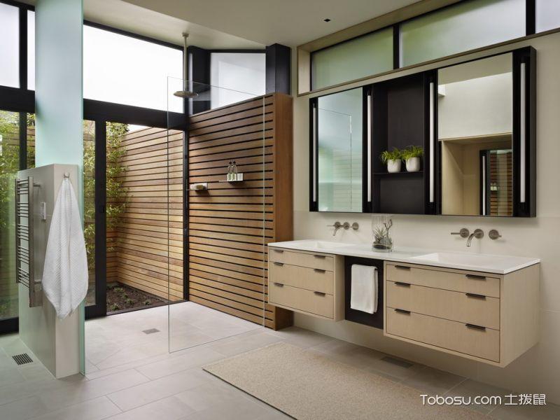 浴室黄色洗漱台现代风格装潢图片