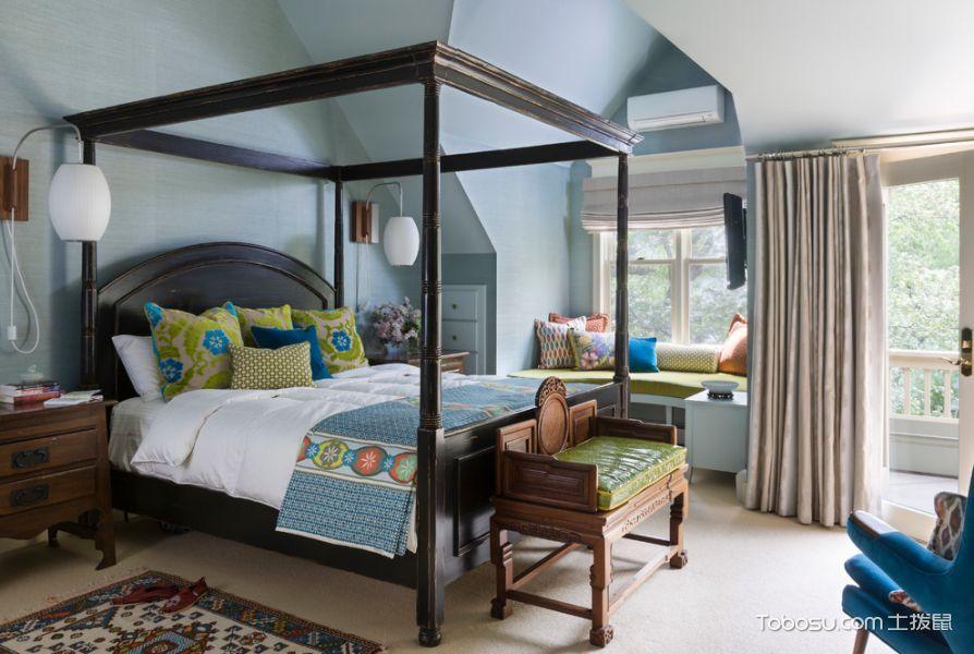 卧室黑色床混搭风格装修效果图