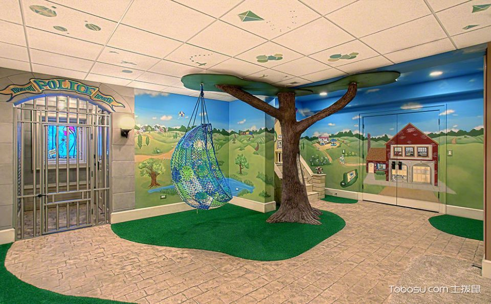 儿童房咖啡色地砖美式风格装饰效果图