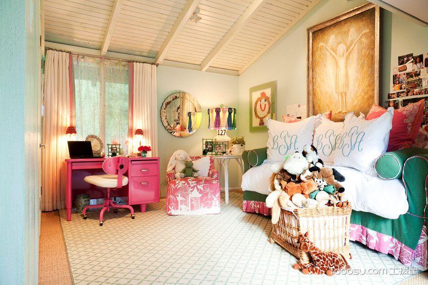 儿童房粉色书桌混搭风格效果图
