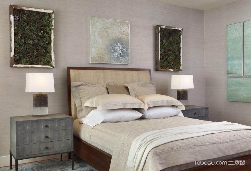 卧室灰色背景墙混搭风格装修设计图片