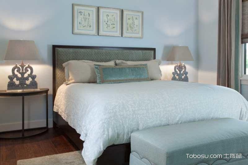 卧室蓝色照片墙美式风格装潢设计图片