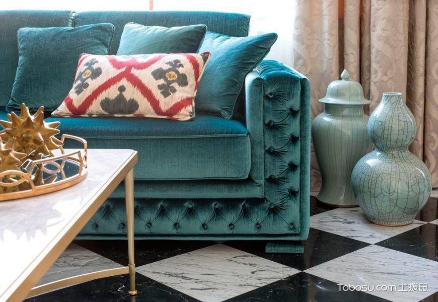 客厅白色地砖美式风格装饰效果图