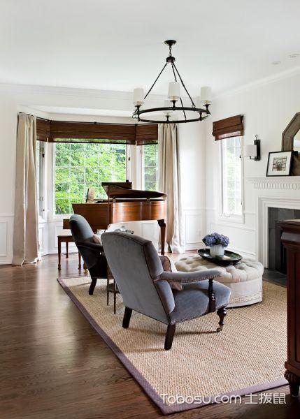 客厅咖啡色地板砖美式风格装饰图片