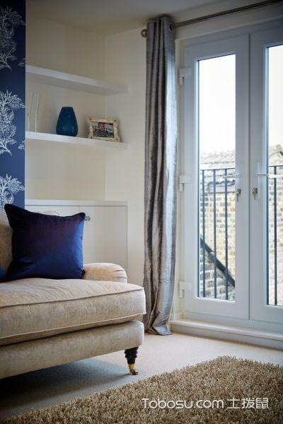 卧室灰色窗帘美式风格装修设计图片