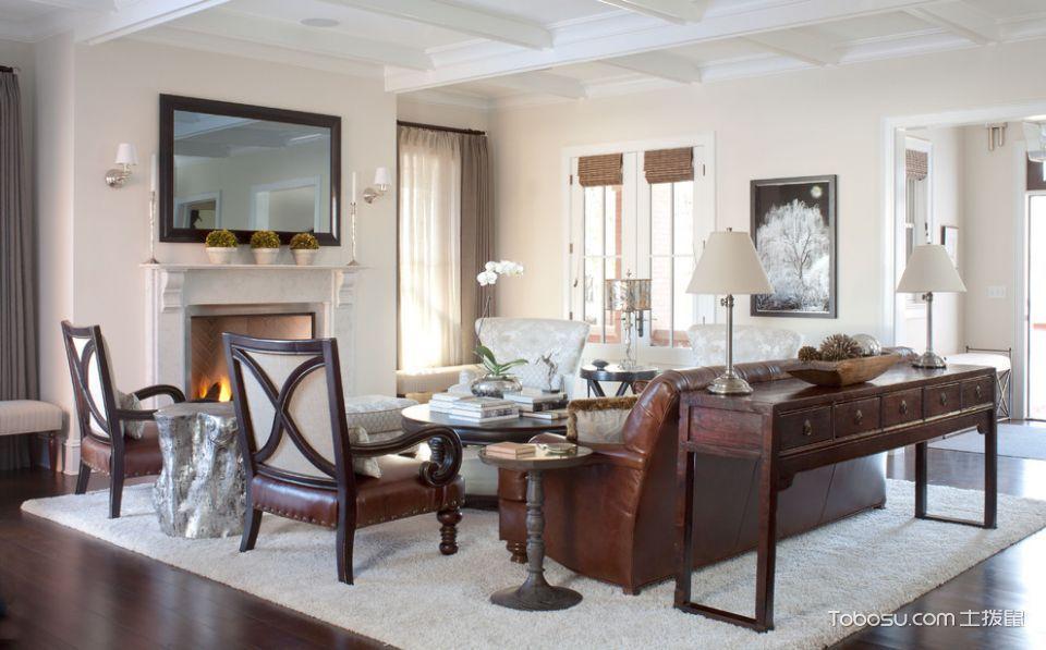 客厅咖啡色地板砖美式风格装潢设计图片