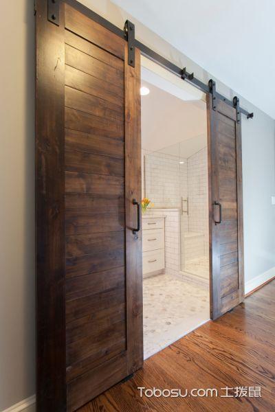 浴室咖啡色推拉门混搭风格装潢设计图片