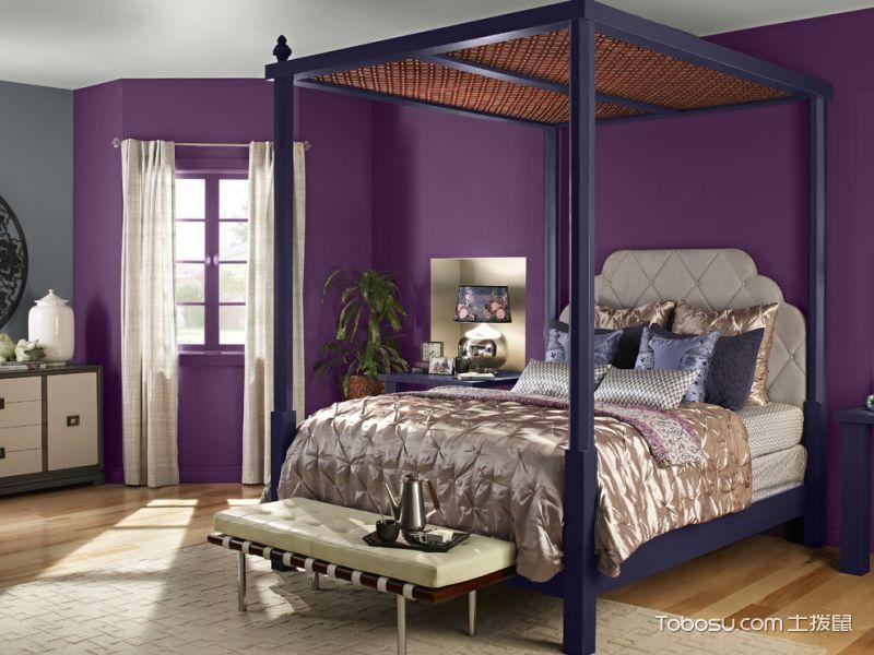 卧室紫色背景墙现代风格装饰图片