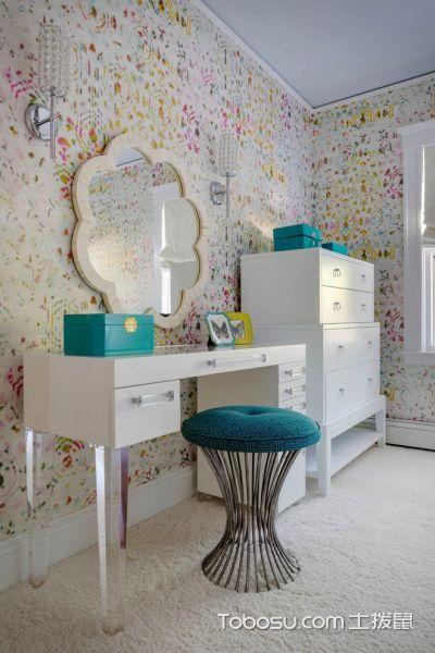 卧室白色梳妆台混搭风格装潢图片