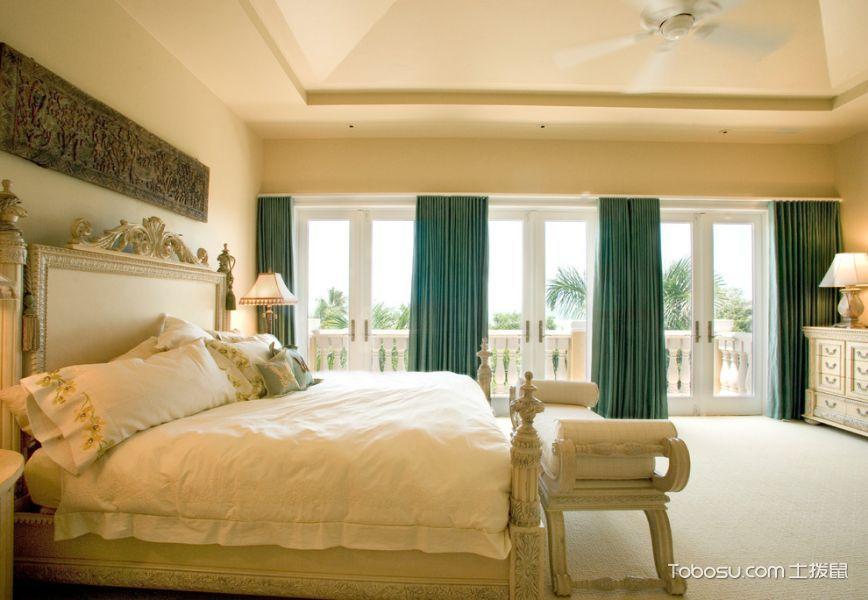 卧室绿色窗帘地中海风格装潢设计图片
