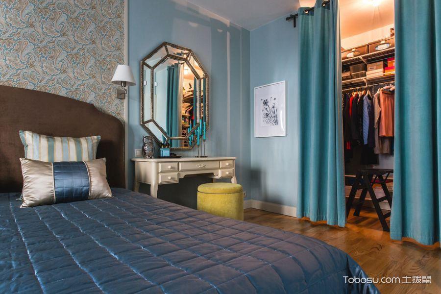 卧室绿色窗帘混搭风格装修设计图片