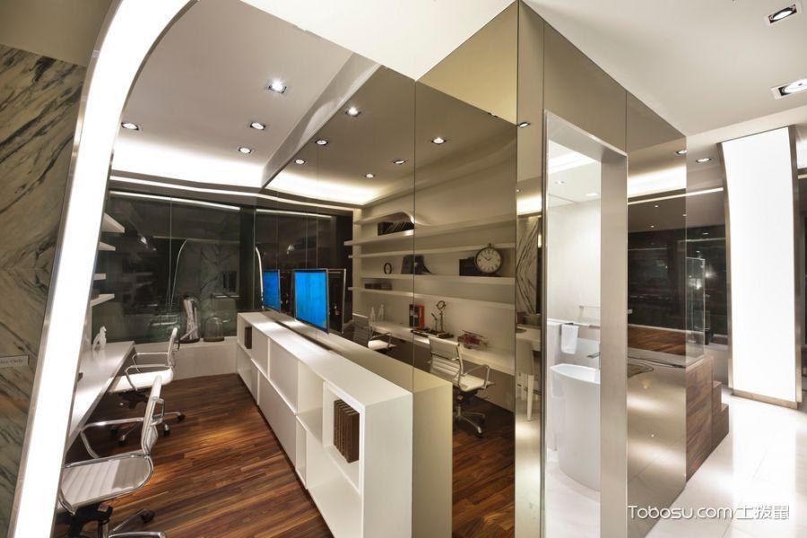 书房咖啡色地板砖现代风格装修效果图