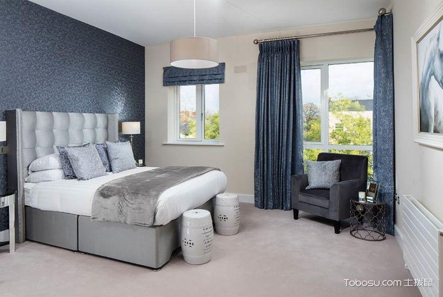卧室蓝色窗帘现代风格装潢图片