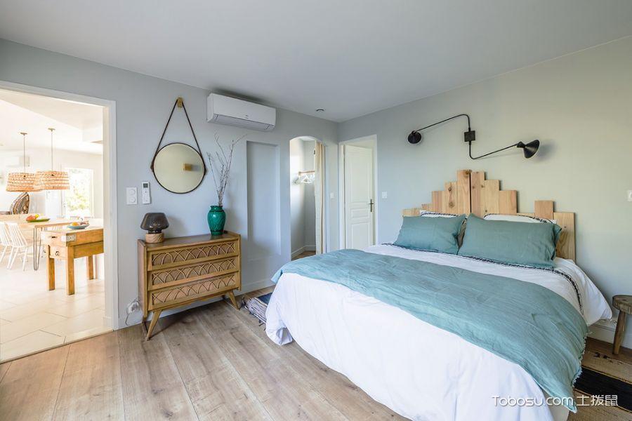 卧室蓝色背景墙地中海风格装潢设计图片