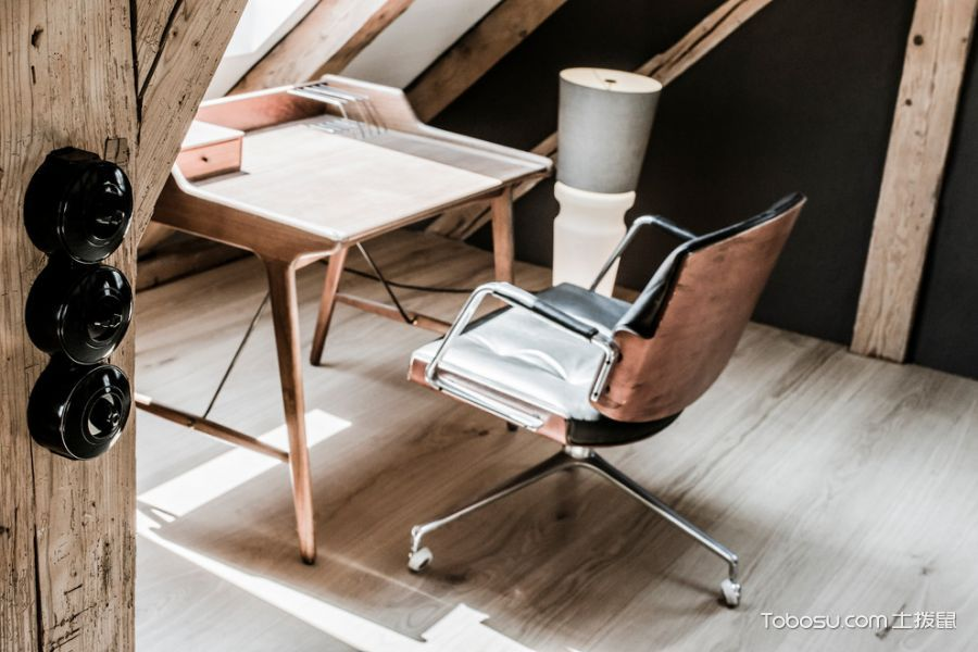 书房咖啡色地板砖北欧风格装潢图片