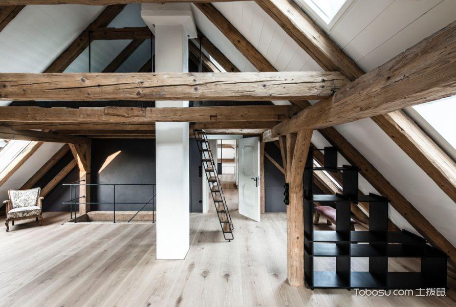 书房咖啡色地板砖北欧风格装潢效果图
