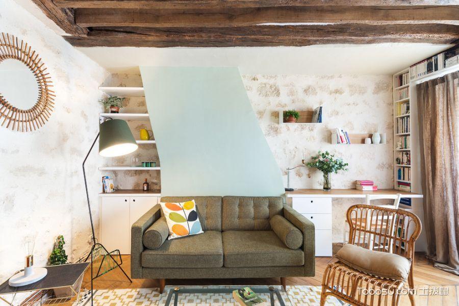 客厅绿色灯具混搭风格效果图