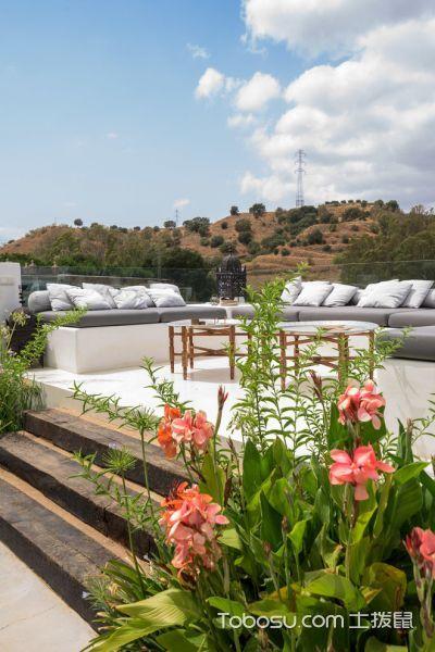 阳台白色地砖地中海风格装饰效果图