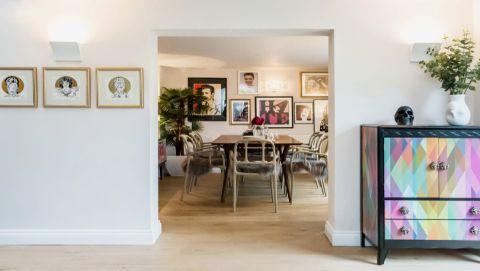 餐厅隔断混搭风格装潢设计图片