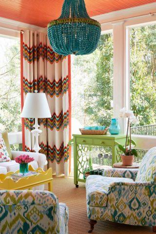 阳光房窗帘美式风格装饰设计图片