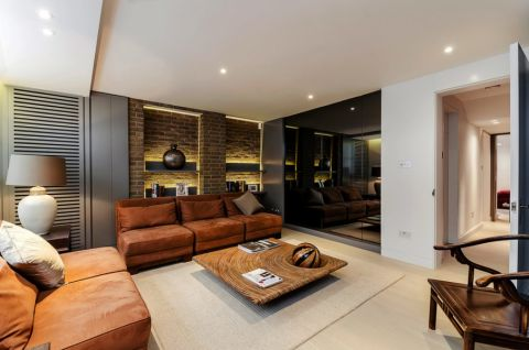 起居室背景墙美式风格装潢图片