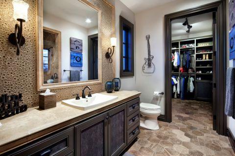 浴室洗漱台地中海风格装潢效果图