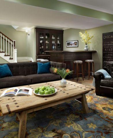 地下室背景墙美式风格装潢设计图片