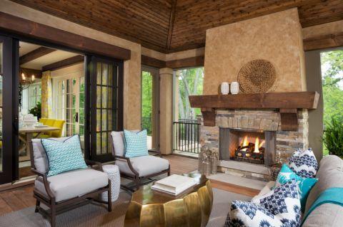 客厅茶几美式风格装潢效果图