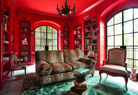 书房背景墙地中海风格装饰图片