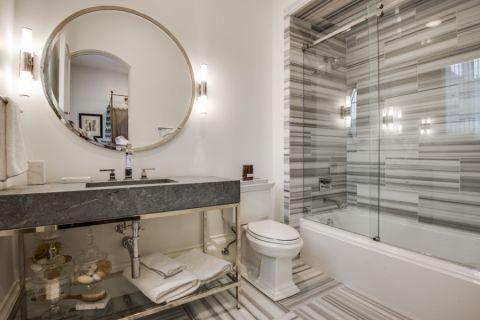 浴室灰色洗漱台地中海风格装饰效果图
