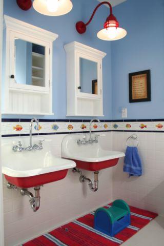 浴室背景墙美式风格装潢设计图片