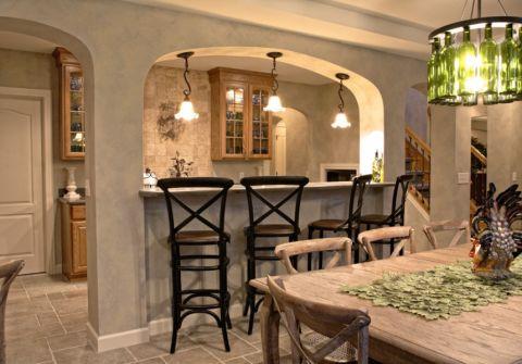 餐厅吧台地中海风格装潢效果图