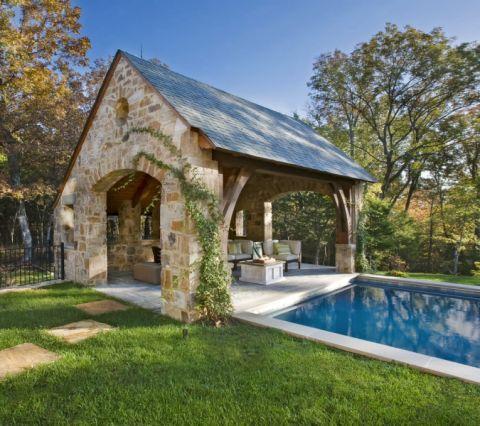 花园泳池美式风格装修效果图
