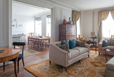 客厅地板砖美式风格装潢图片