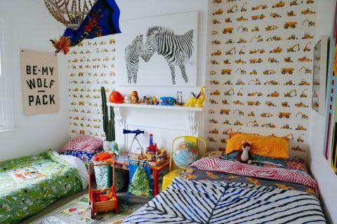 儿童房背景墙混搭风格装饰效果图