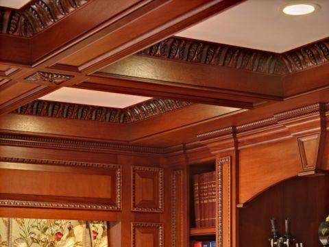 书房吊顶美式风格装潢效果图