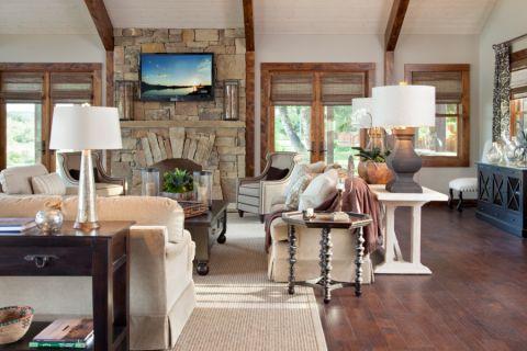 客厅地板砖美式风格装潢效果图