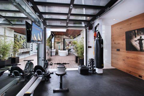 健身房背景墙现代风格装修设计图片
