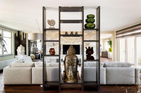 客厅博古架混搭风格装潢设计图片