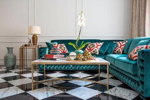 客厅白色茶几美式风格装潢图片