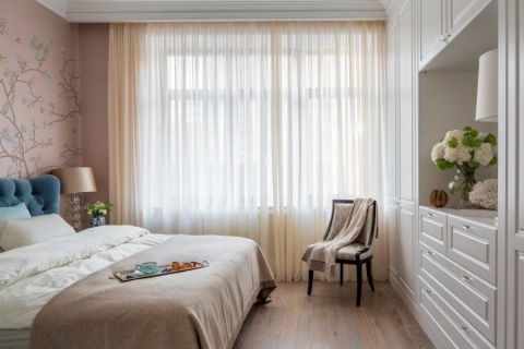卧室米色窗帘美式风格装修设计图片