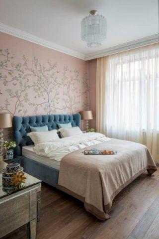 卧室白色吊顶美式风格装潢设计图片