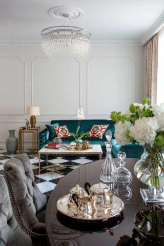 客厅绿色沙发美式风格装修效果图