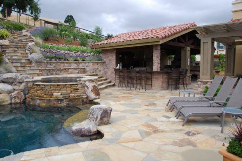 花园泳池地中海风格装饰效果图