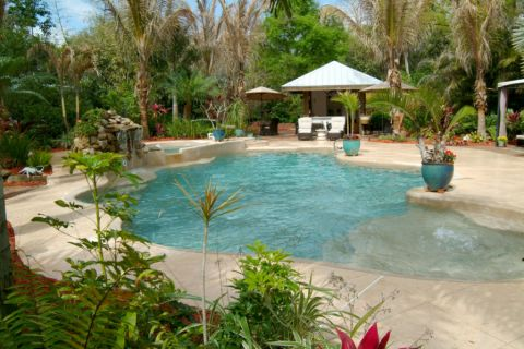 花园泳池混搭风格装潢效果图
