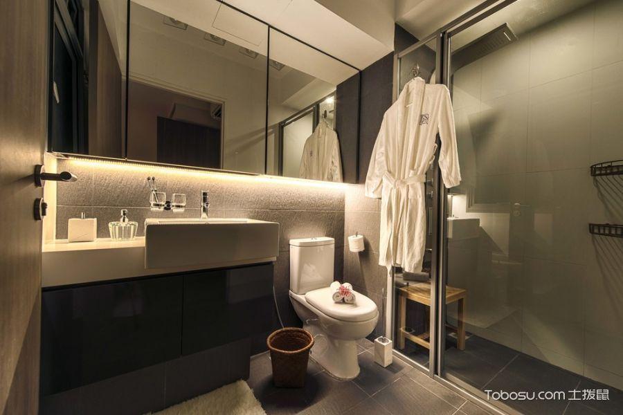 浴室黑色洗漱台北欧风格装潢图片