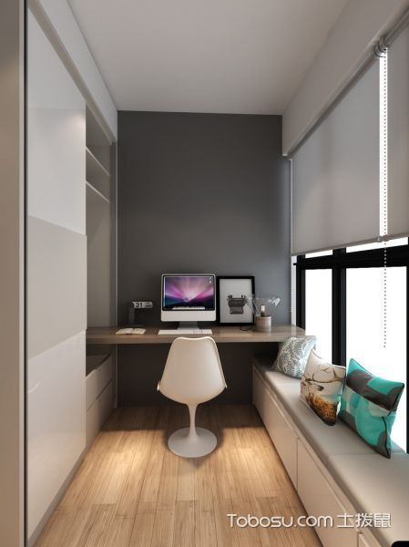 书房灰色窗帘北欧风格装饰效果图