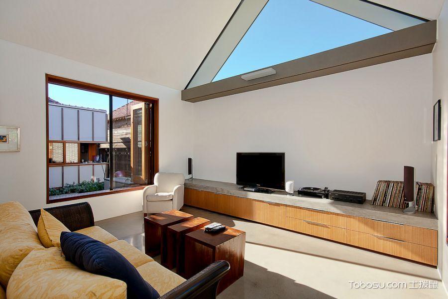 客厅橙色电视柜现代风格装饰效果图