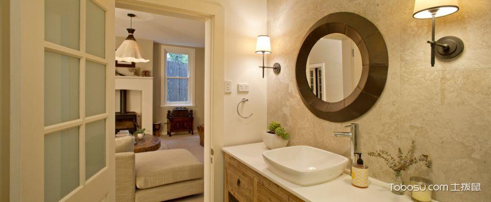 浴室黄色洗漱台现代风格装饰图片