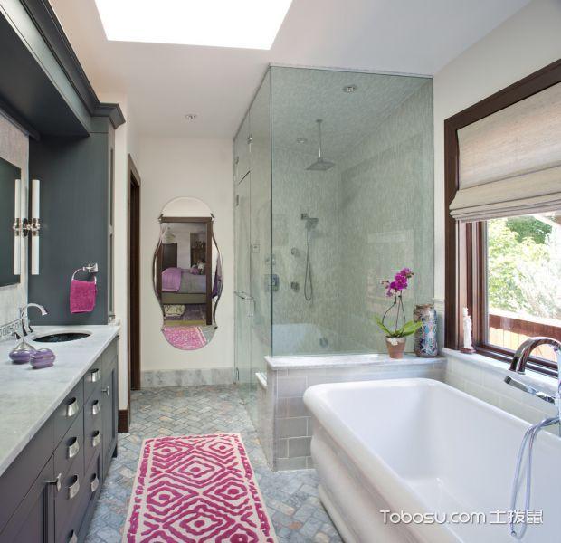 浴室白色浴缸混搭风格装修图片